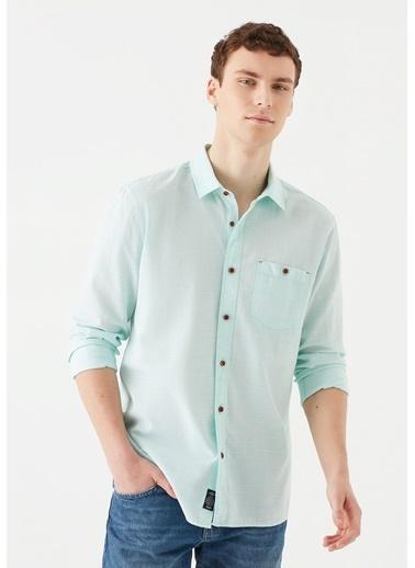Mavi Tek Cepli  Gömlek Yeşil